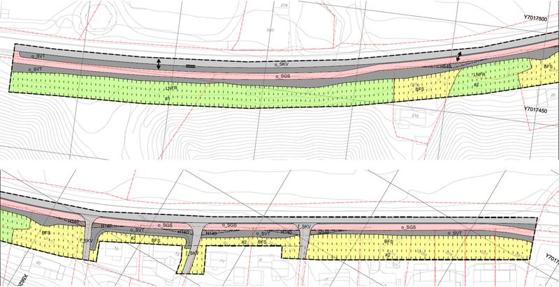 Plankart for reguleringsplan gang- og sykkelveg Vollmarka