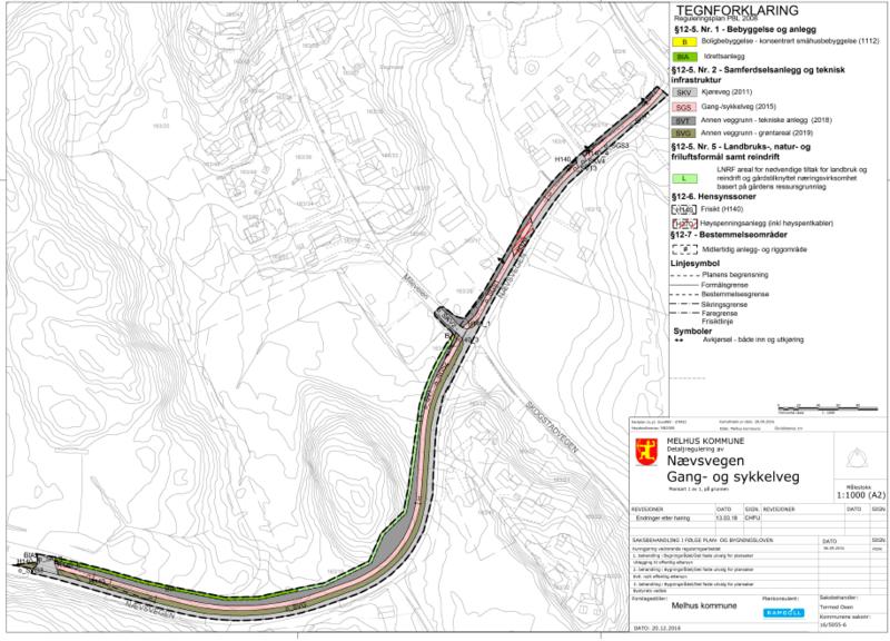 plankart for detaljregulering av Nævsvegen gang- og sykkelfelt