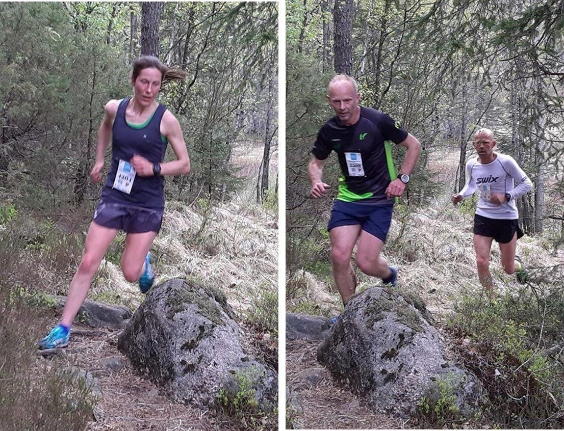 De raskeste i fellesstarten, Ingrid Eikaas Ukkelberg og Terje Fredriksen. Ingrid vant kvinner totalt, Terje ble nummer to i herrer totalt. (Foto: Arild Vehus)