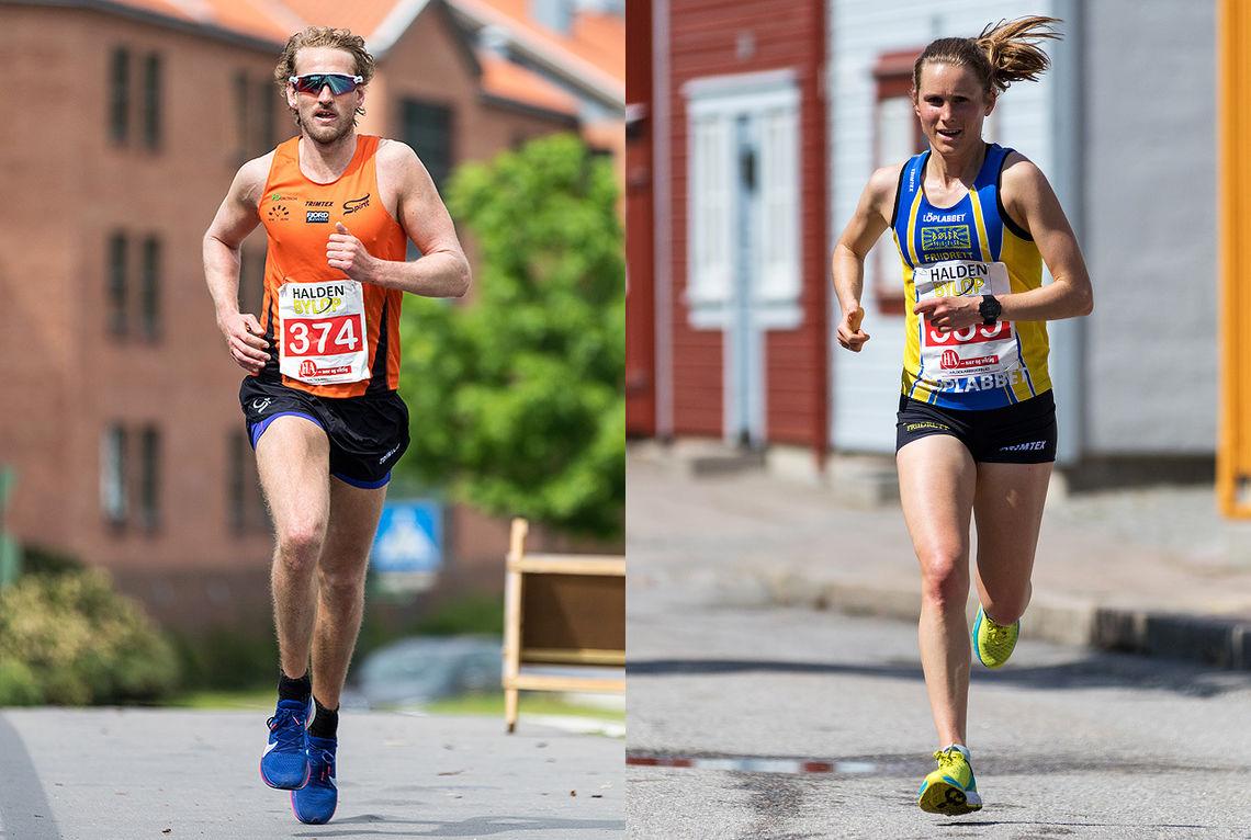Thomas Asgautsen og Heidi Pharo var raskest i den 10 km lange løypa til Halden Byløp. (Foto: Sylvain Cavatz)