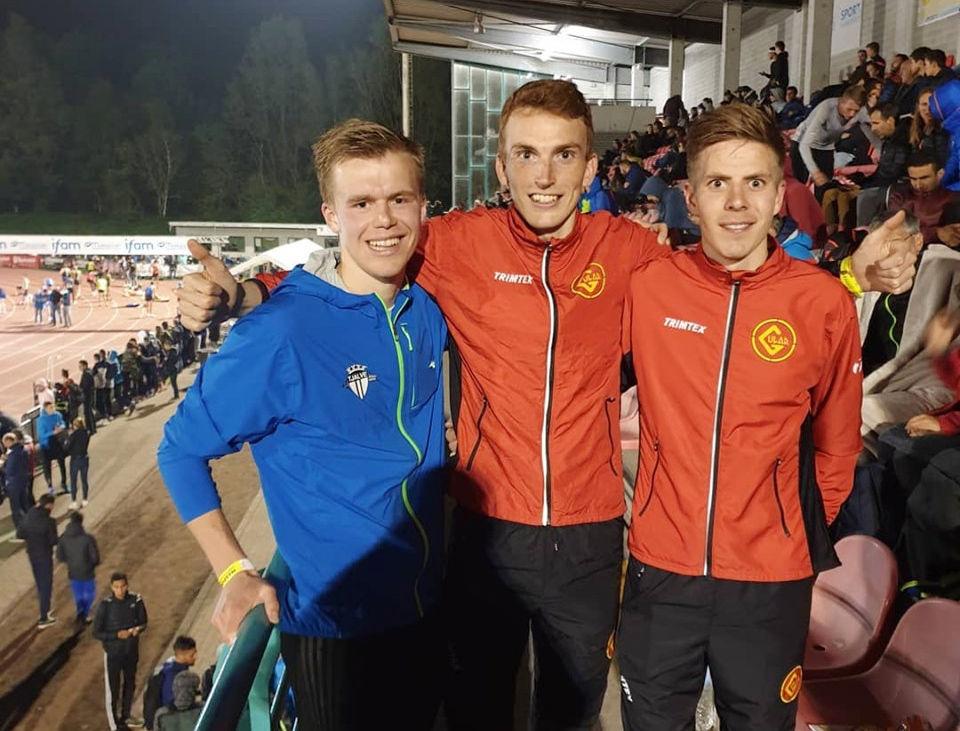 Sigurd Ruud Skjeseth (til venstre), Marius Vedvik (midten) og Per Svela kunne alle glede seg over ny 5000 m pers. (Foto: Eirik Røe)