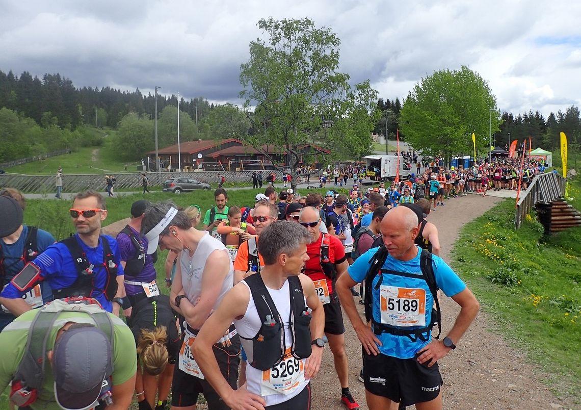 Noen hundre løpere venter på start 50 km i Ecotrail Oslo i 2019. I år er løpet utsatt, men 7. august er det klart for 50 km og 80 km i Ecotrail. (Foto: Olav Engen)