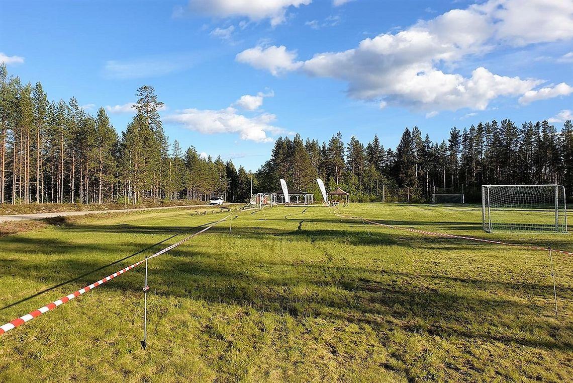 Spurtstrekket på idrettsplassen på Lundersæter der Finnskogkureen ble avgjort også i år. (Foto fra Finnsjogkurerens facebookside)