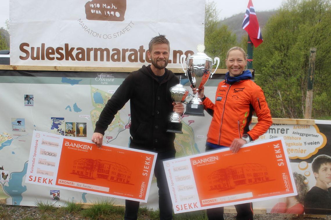 Jørn Hjørungnes og Mari Nustad Mauland vant maratondistansen. (Arrangørfoto)