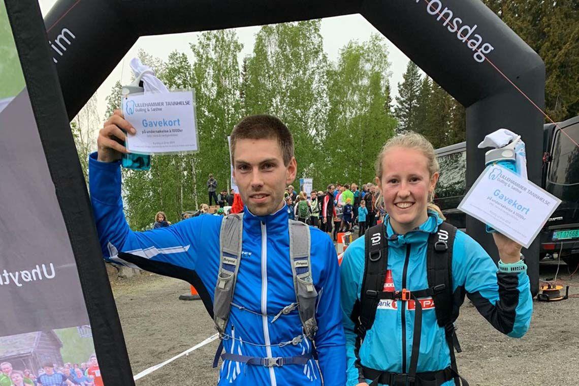 Geir Steig, Luster IL og Karoline Simpson-Larsen, Vargar IL løp motbakkene langs Mesnaelva raskest. Foto Finn Olsen