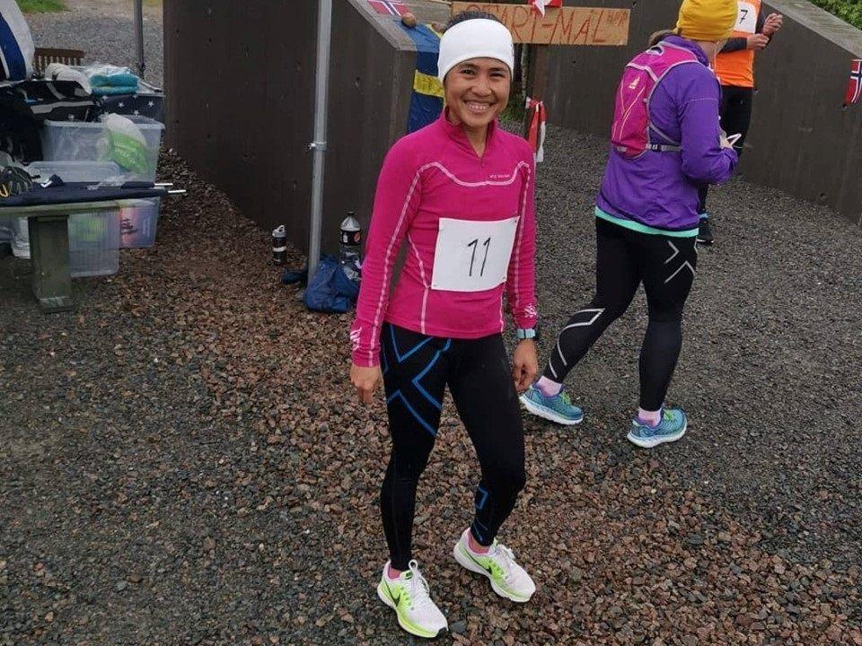 Blide Desiree Kristiansen stilte på Strandvoldrunden for andre gang  for å støtte lokale løp og endte som  vinner av kvinneklassen. (Foto: Ingar Kristiansen)