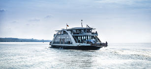Car ferry on the lake Constance (Bodensee).