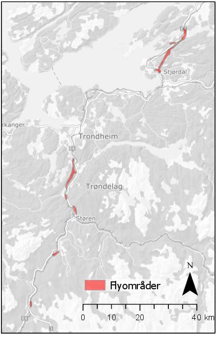 Kart over område som skal geoskannes, Nye Veier