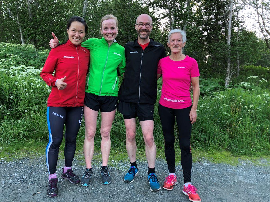 Trenerne ved Kondistreninga Trondheim f.v: Sol Haugen, Eva Holøyen, Kjetil Sletten og Bodil Brå Alsvik. Foto: Stine Yeoman