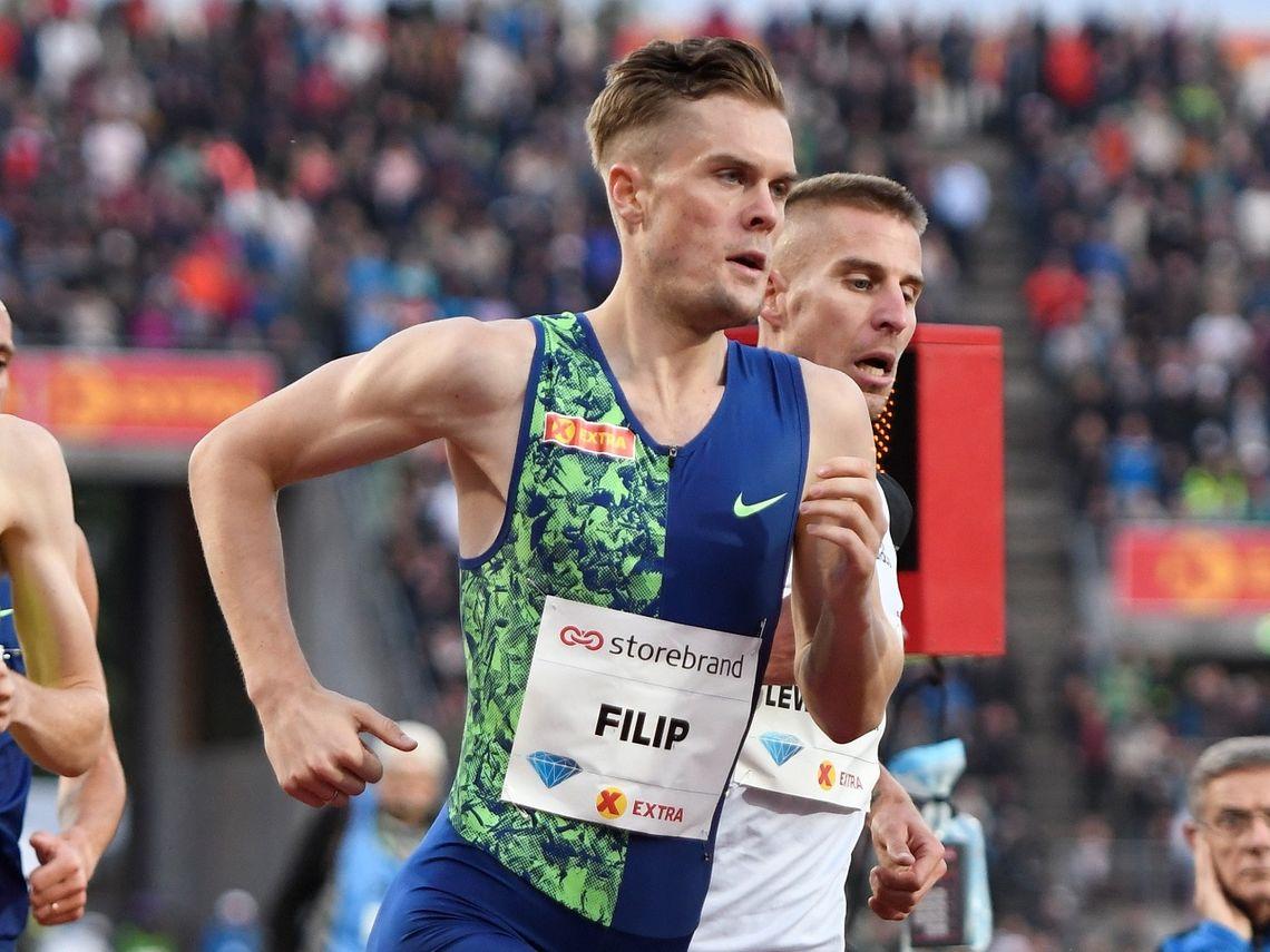 Filip Ingebrigtsen løp nesten fem sekunder raskere i London enn her på Bislett for fem uker siden. (Foto: Bjørn Johannessen)