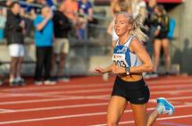 Marte Mæhlum Johansen er på rekrutteringslandslaget i langrenn, men løper også fort. Her ser vi henne under Sommerstevnet på Bislett. (Foto: Samuel Hafsahl)