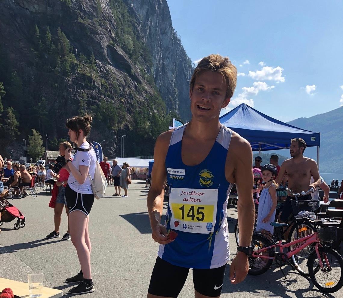 Iver Matias Linge Glomnes er fra Valldal, men er flyttet til Trondheim for å studere, og løper nå for Strindheim IL. Foto: Arrangør