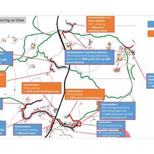 Kart med NVE`s sikringstiltak mot kvikkleireskred ved Rødde