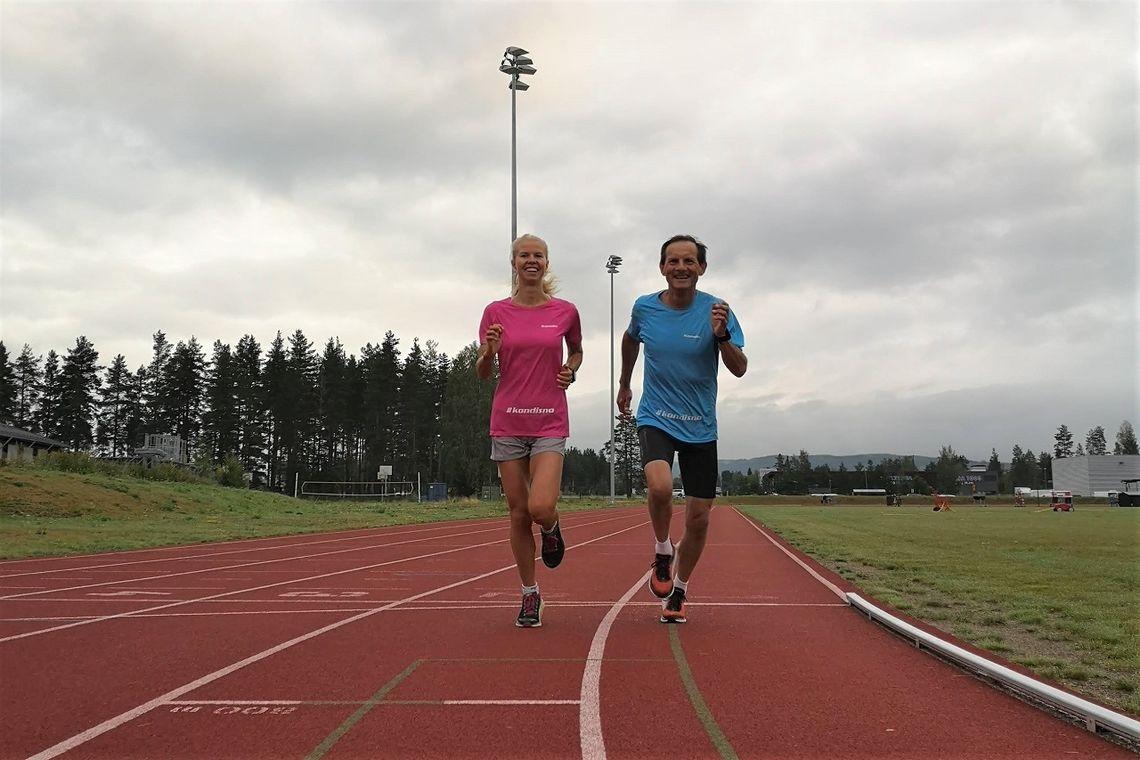 Marit Haslie og Rolf Bakken inviterer til Kondistreninga på friidrettsbanen på Terningmoen på torsdager.