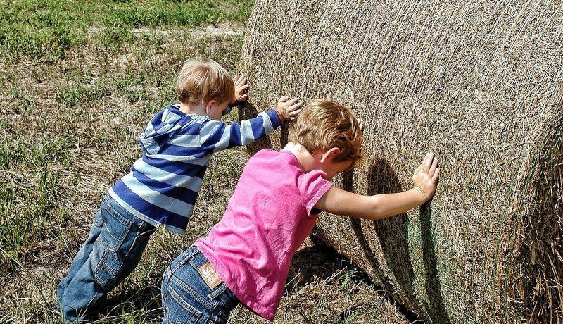 Bilde av to barn som jobber på en åker