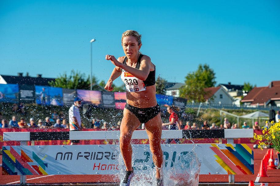 Karoline Bjerkeli Grøvdal løp 4 sekunder fortere enn i kongepokalløpet i NM der dette bildet er tatt. (Arkivfoto: Samuel Hafsahl)