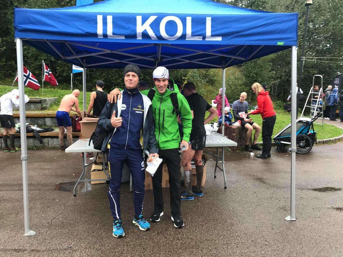 Britiske Alan Cherry og svenske Simen Wästlund var raskest i lørdagens våte Heltraver'n. (Foto: Nordmarkstraver'n)