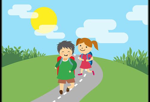 skolebarn på veien