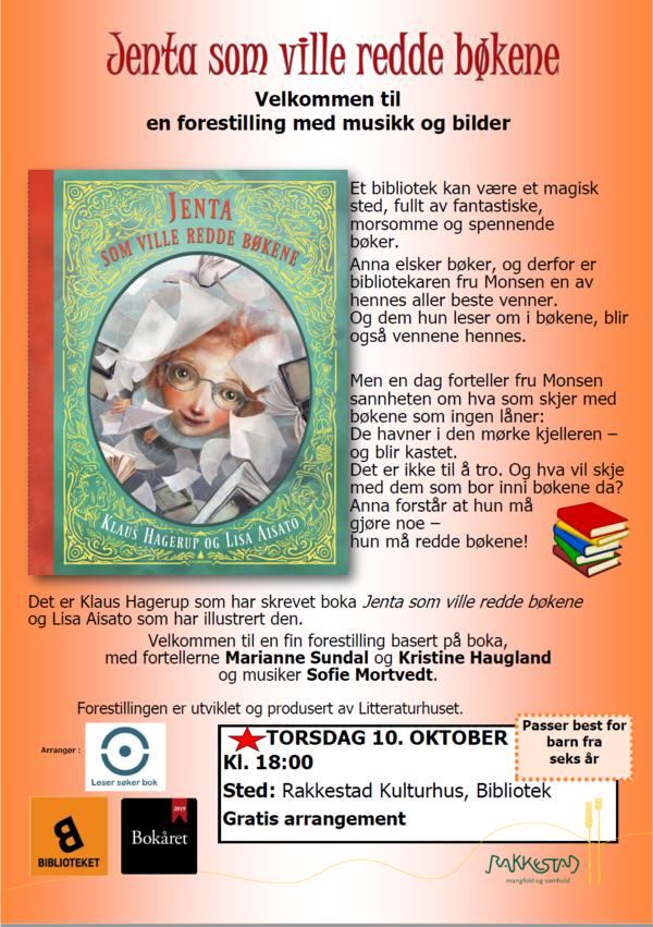 Plakat - Jenta som ville redde bøkene - Rakkestad bibliotek 101019.jpg