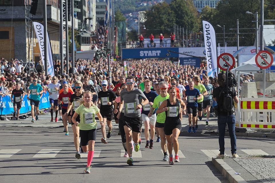 En av sju startpuljer på halvmaraton. Foto: Per Inge Østmoen