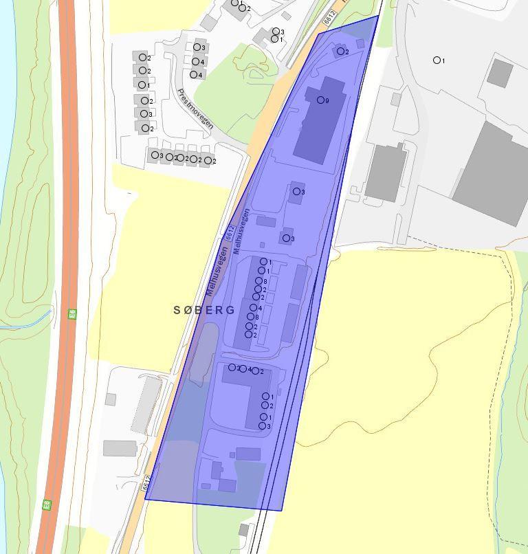 Bilde av eiendommene som berøres av vannavstenging Søberg 30.9.19