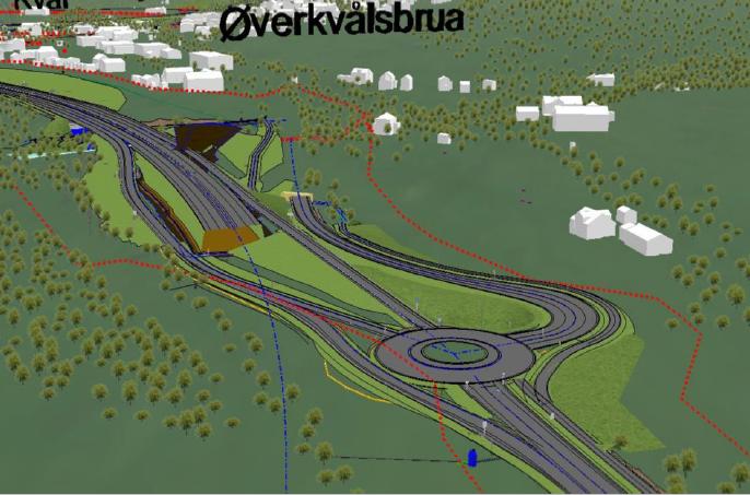 bilde viser utsnitt av fremtidig situasjon ved Kvål sør