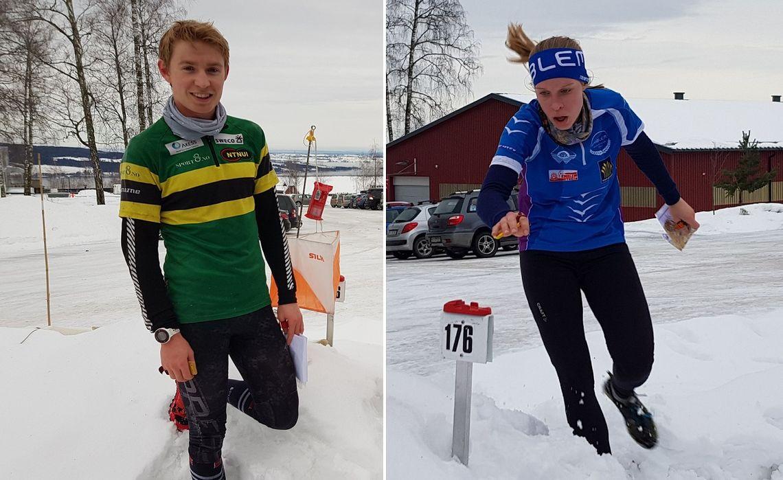 Vinnere av lang løype på 5,5 km: Eirik Langedal Breivik og Audhild Bakken Rognstad. (Foto: Stein Arne Negård)