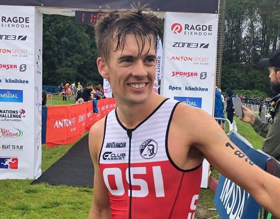 Triatleten Mathias Oppegaard vant Vinterkarusellen på hjemmebane 4. januar. (Privat foto)