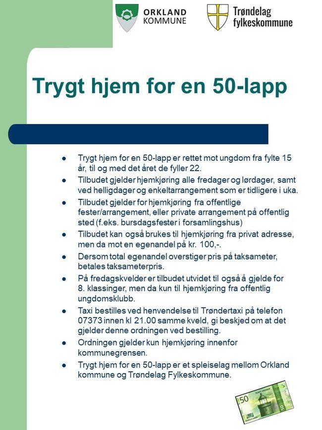 Retningslinjer for Trygt hjem for en 50-lapp for Orkland kommune