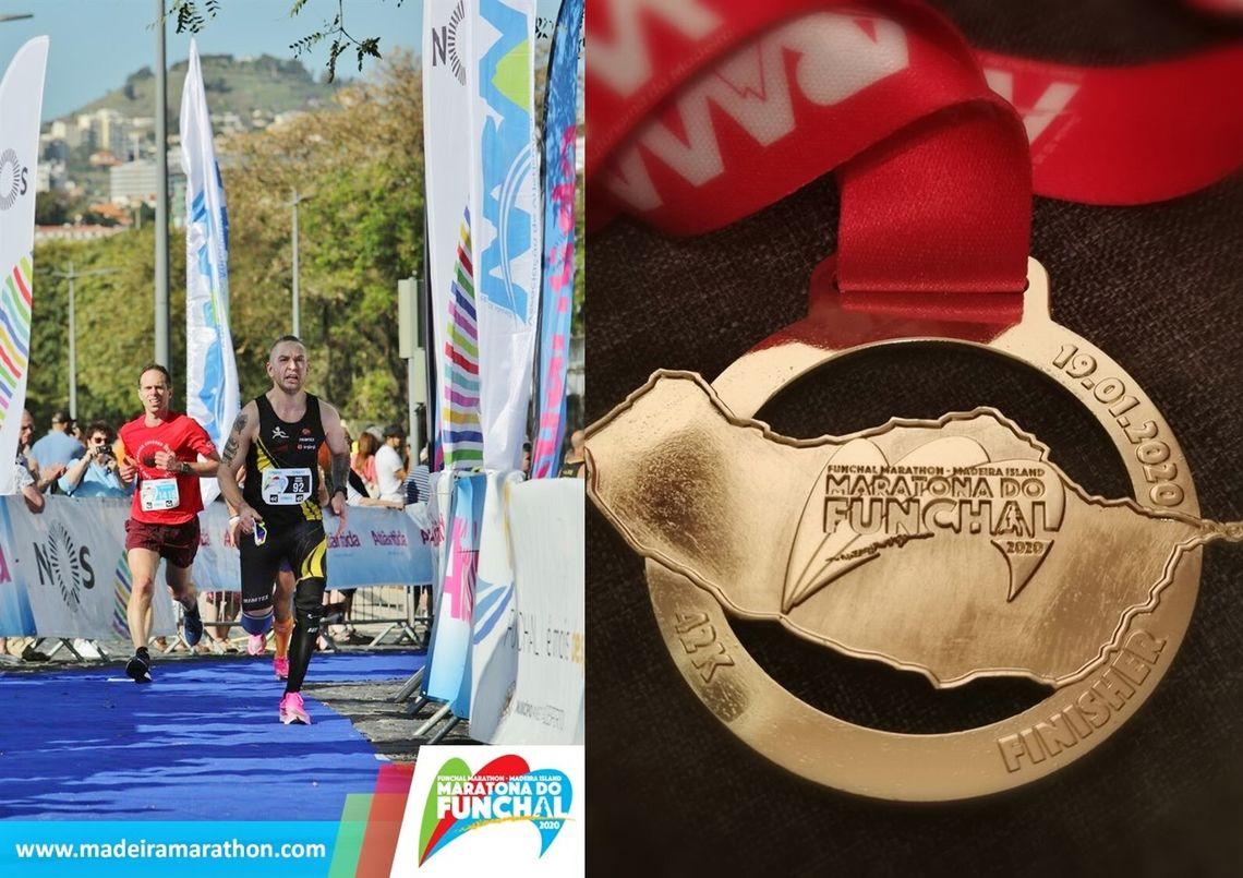 Marius Nakkeid går i mål som raskeste norske på Funchal Marathon på Madeira. (Privat foto)