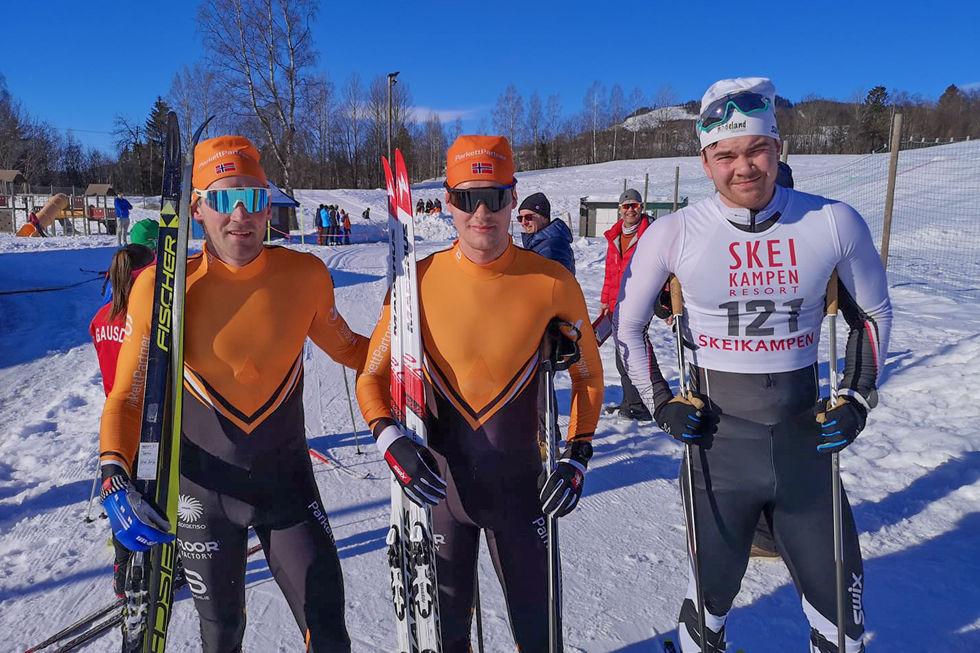 De 3 raskeste i herreklassen: Kjetil Tyrom vinner, Magnus Bleken nr 2 og Ola Nygård Snellingen 3 plass. (Foto: arrangøren)