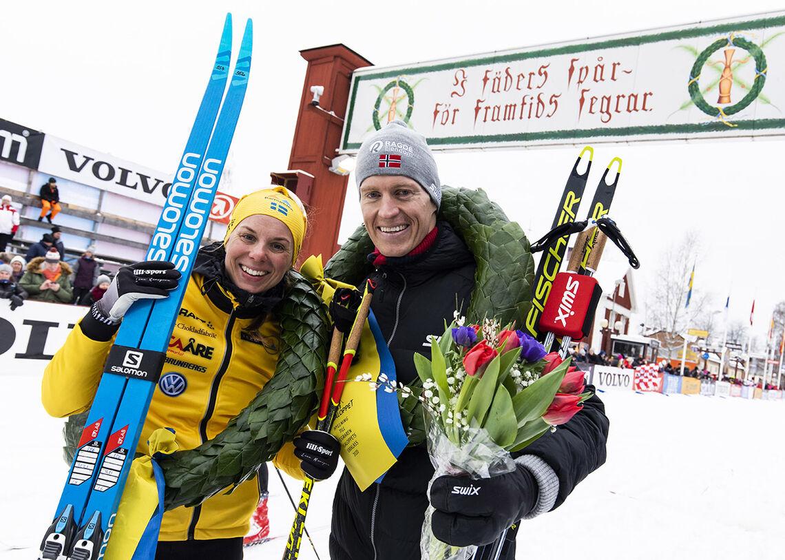 Lina Korsgren og Petter Eliassen vant fjorårets utgave av Vasaloppet. Begge er blant de største favorittene i år. (Foto: Vasaloppet)