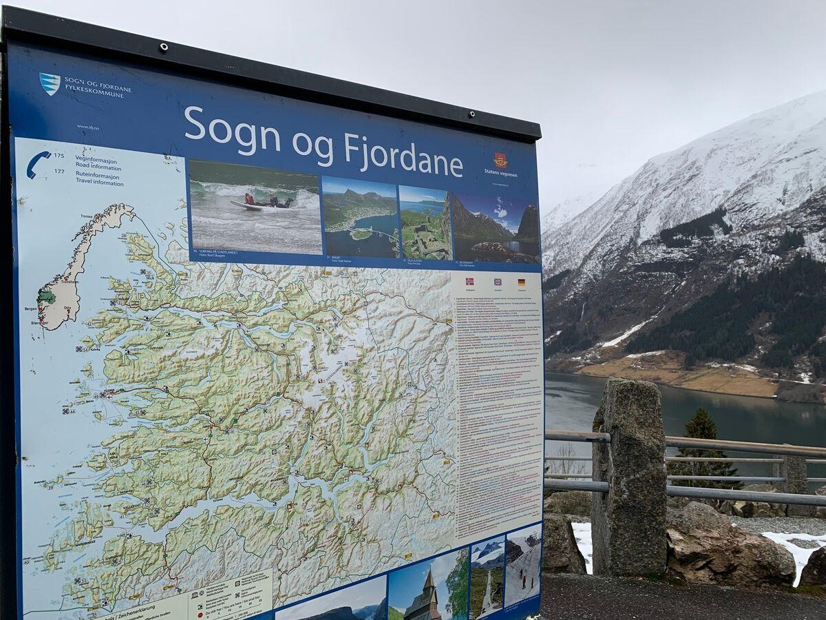 Kart over Sogn og Fjordane