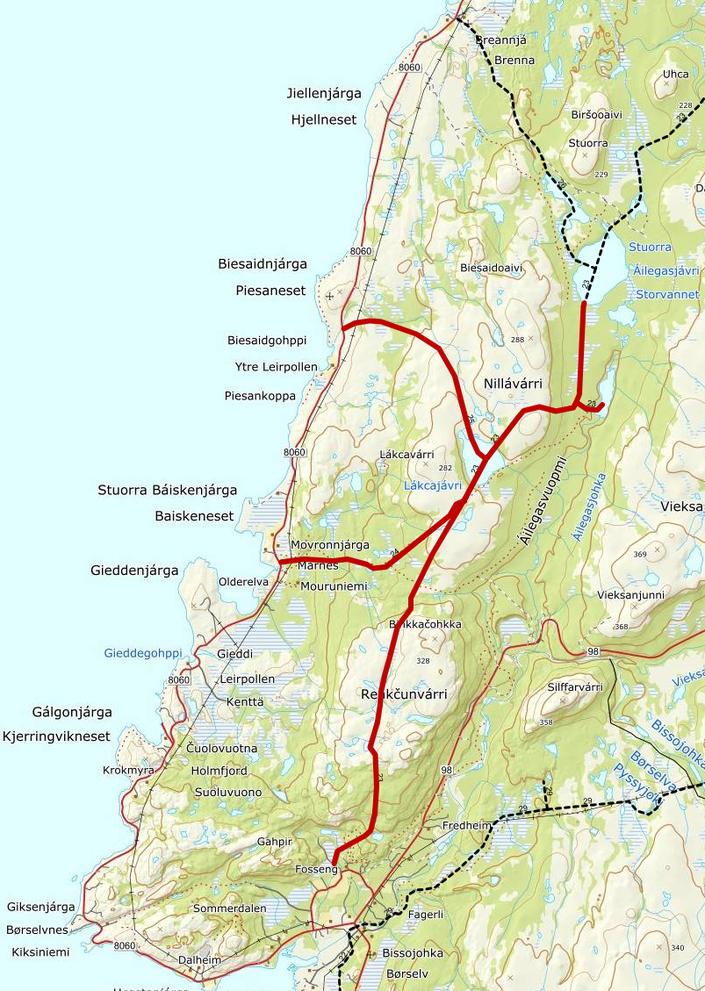 Kart over løyper som må stenges_løype 23 - 24 - 25