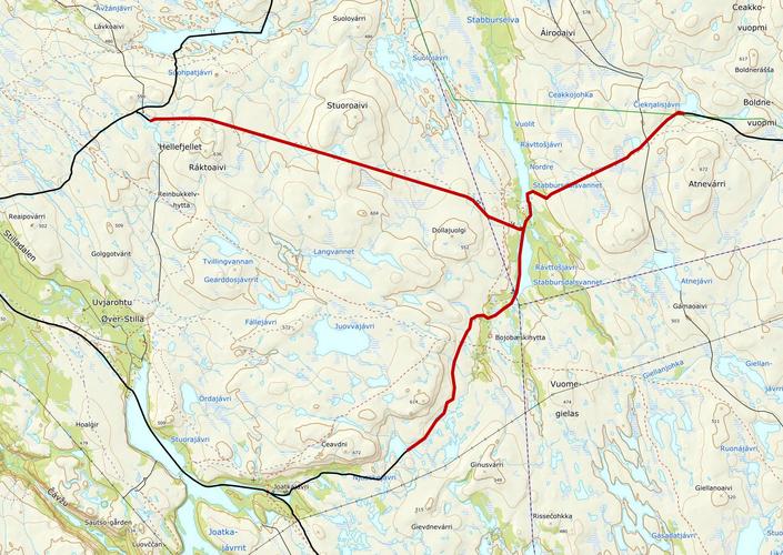Kart_stengte løyper i Alta og Porsangers løype 14.