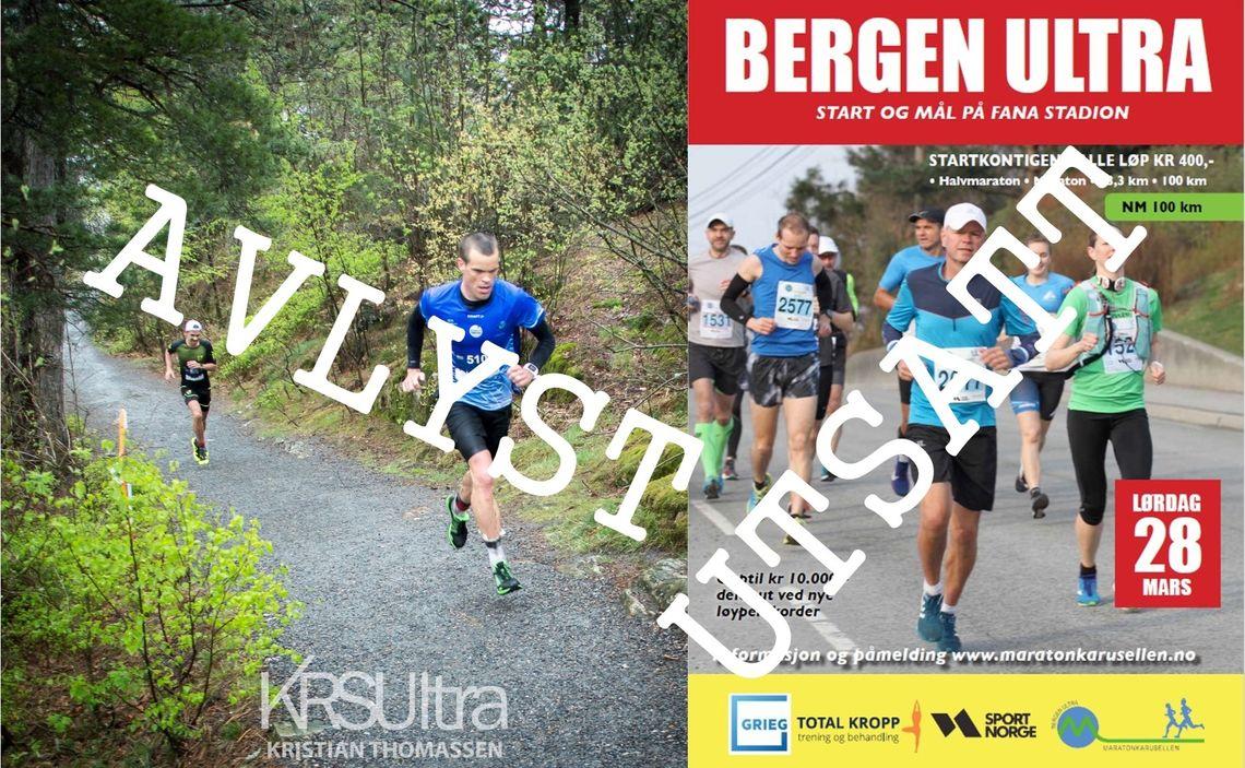 KRSUltra er ett av de avlyste løpene, Bergen Ultra med NM 100 er et av de som utsettes.
