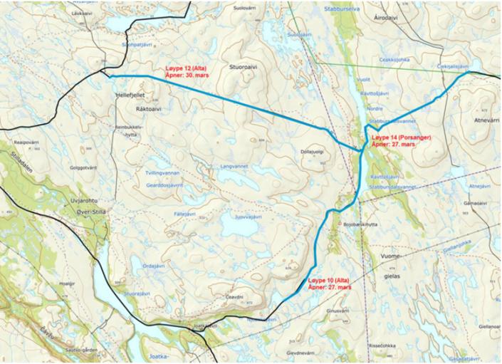 Kart_åpen løyper i Alta og Porsanger løype 14.