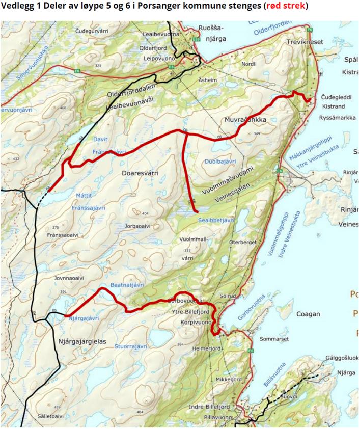 Stenging av skuterløype 5 og 6 i i Billefjord og Kistrand