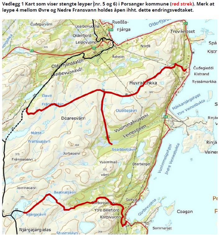 Kart over skuterløype 5 og 6 - stenges