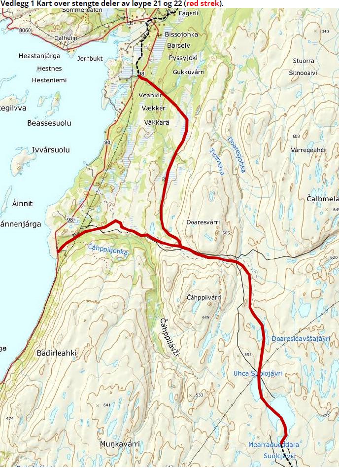 Kart over skuterløype 21 og 22