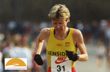 Det er i år 35 år siden Ingrid Kristiansen satte verdensrekord på maraton i London. Her er hun i Sentrumsløpet noen år senere - i 1994. (Foto: Kjell Vigestad)
