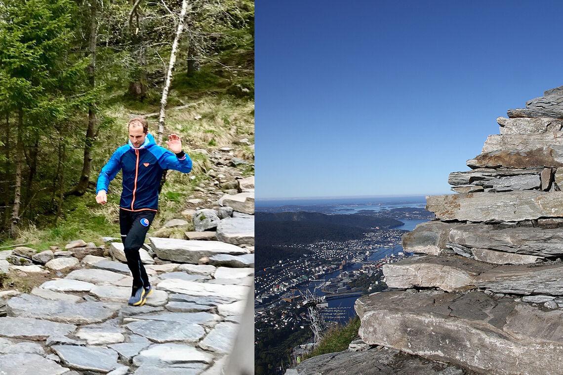 Oppstemten er den nye steintrappen opp til Ulriken som er laget av en gjeng sherpaer. (Foto: Kjell Karstensen/Arne Dag Myking)