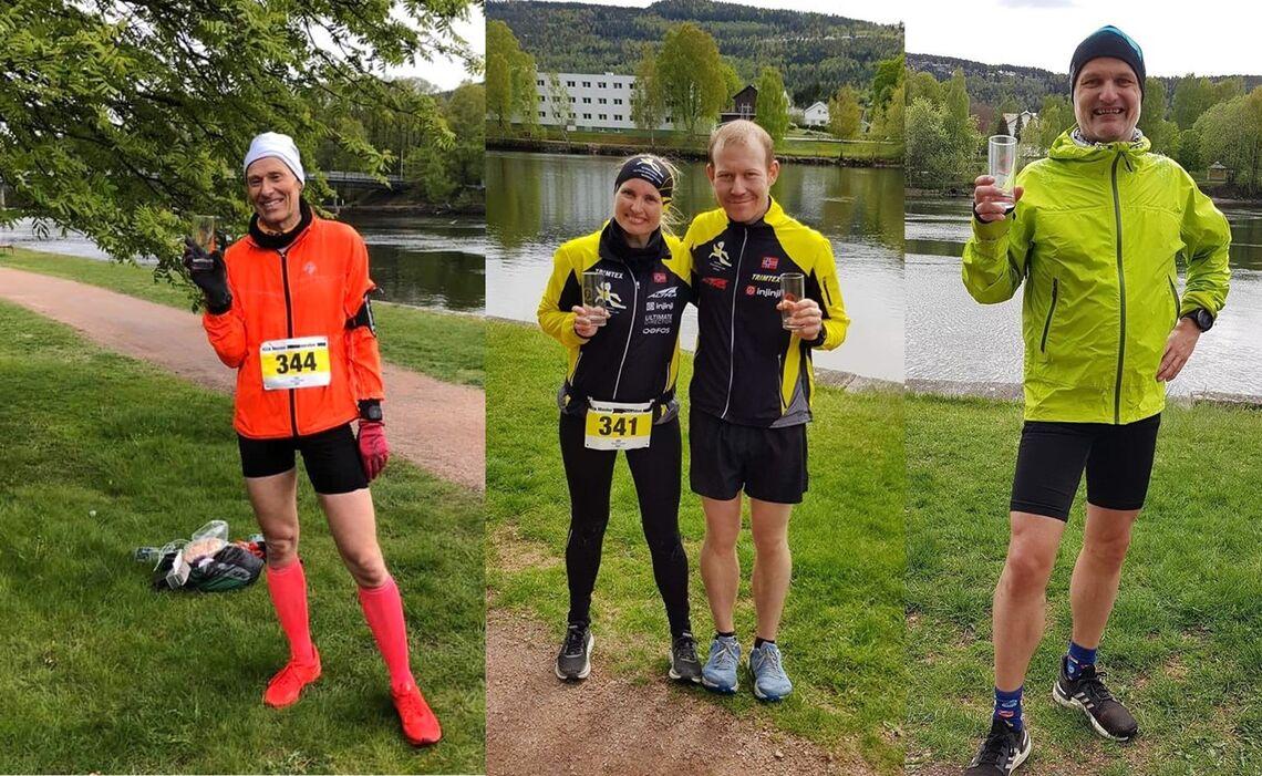 Fire av deltagerne etter målgang, korona-versjon. Fra venstre ultraløpvinner Nils, deretter Isabel&Thomas som begge perset på maraton, og til slutt Ragnar som fullførte sitt 103. ultraløp. (Foto: diverse deltagere)
