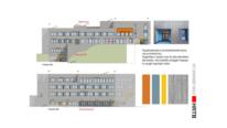 Fasade øst ny skole skisser HRTB Arkitekter