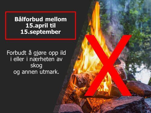 Bålforbud mellom 15. april og 15. september