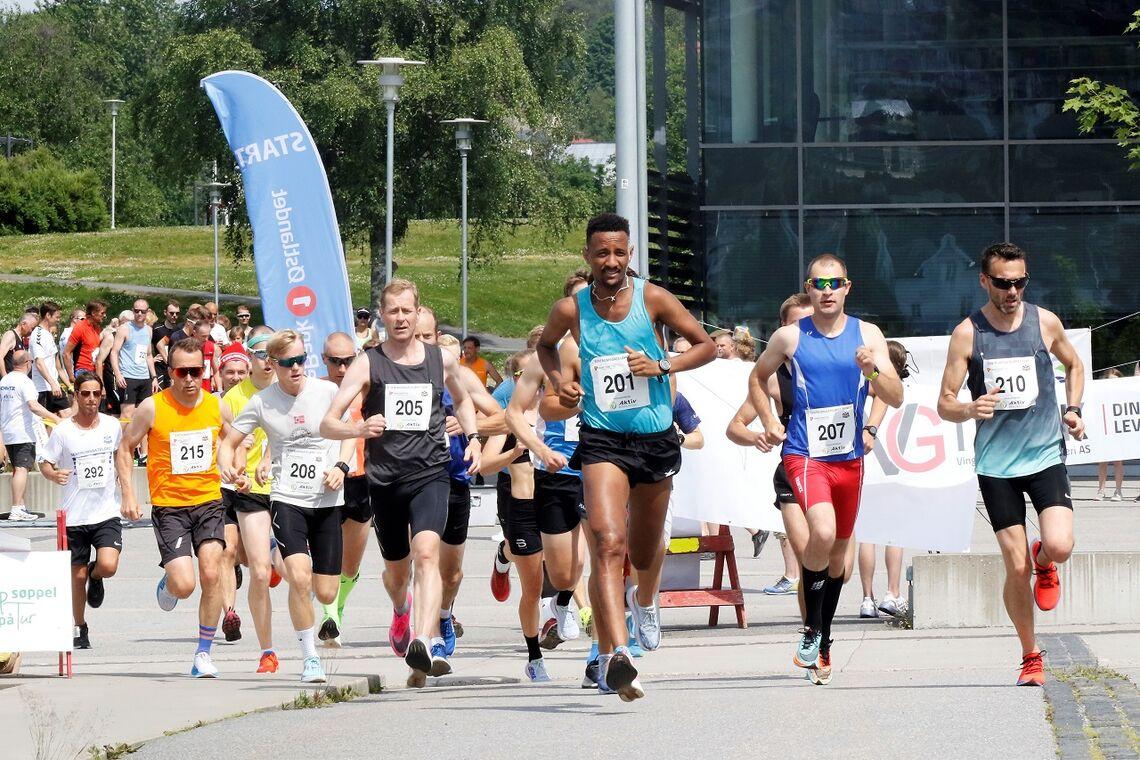 Starten for de 25 best seedede på fjorårets10 km da  Tjalves Seany Fissehatsion (201) satte ny løyperekord med 30:40. (Foto: Trond Hansen)