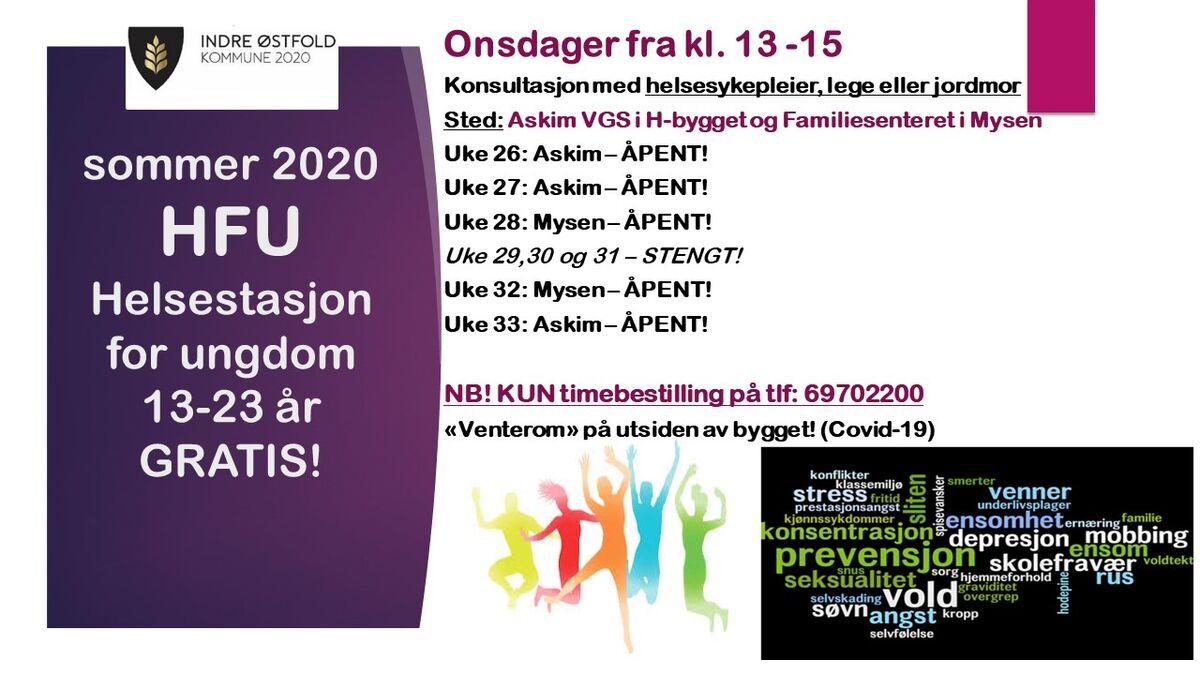 Sommeren 2020 - Helsestasjon for ungdom 13-23 år - Gratis konsultasjoner