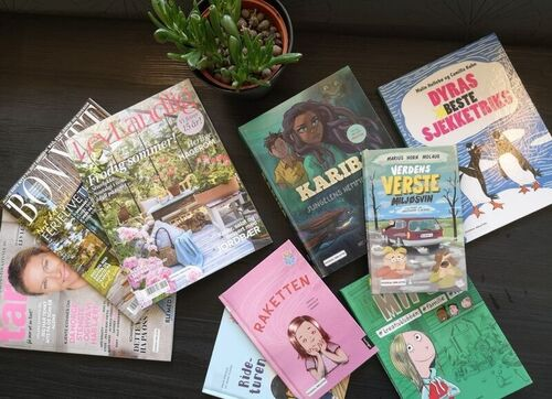 Bøker som ligg utover eit bord