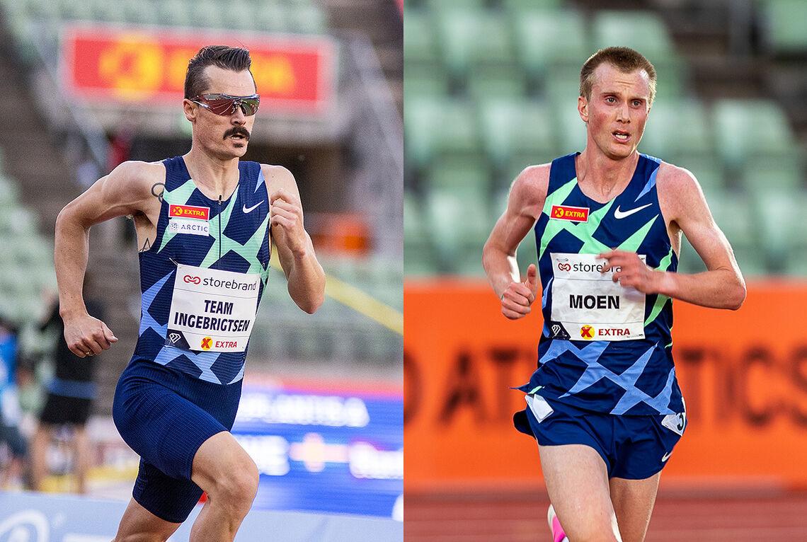 Henrik Ingebrigtsen og Sondre Nordstad Moen er blant toppløperne som skal delta på 5000 m i Boysen Memorial på Bislett i kveld. (Foto: Sylvain Cavatz og Samuel Hafsahl)