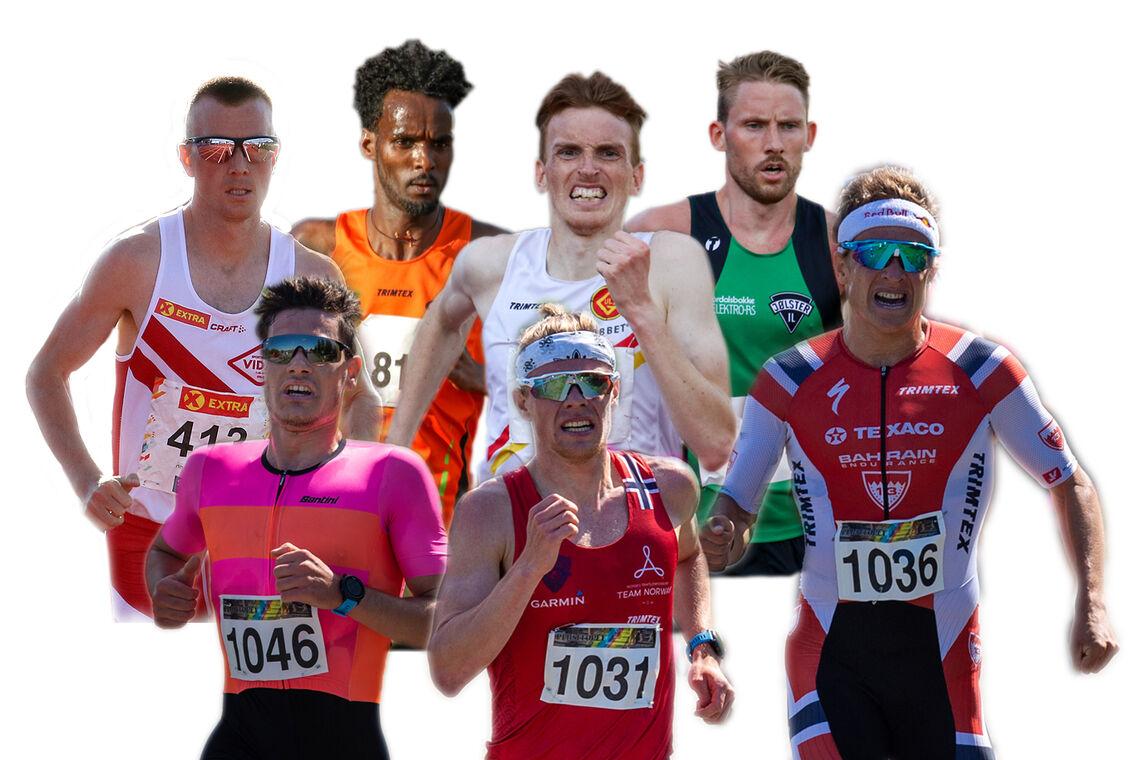 Dette er noen av dem som skal løpe 10 000 meter: Sondre Nordstad Moen, Zerei Kbrom Mezngi, Marius Vedvik, Eivind Øygard, Gustav Iden, Casper Stornes og Kristian Blummenfelt. (Fotomontasje: Arne Dag Myking).